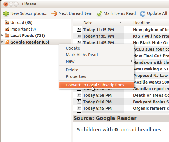 Screenshot on converting Google Reader subscription