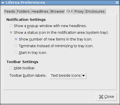 Liferea GUI options
